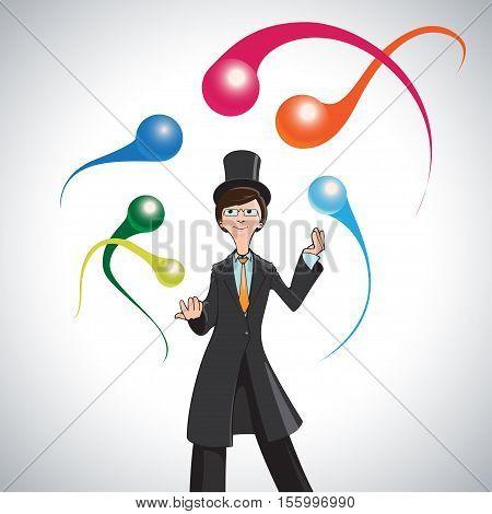 Cartoon juggler Vector illustration Without background circus