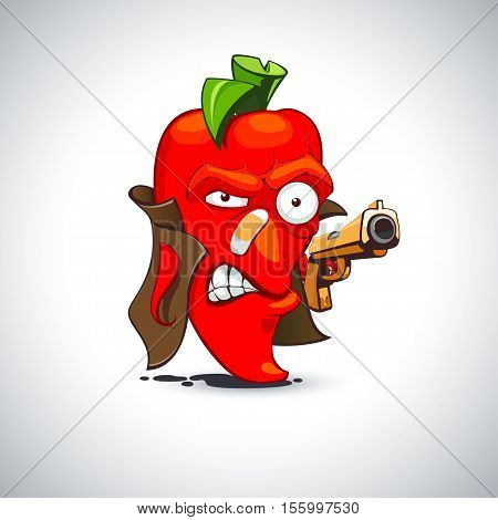 Killer saucy pepper in a raincoat with a gun vector illustration in cartoon style isolation from the background