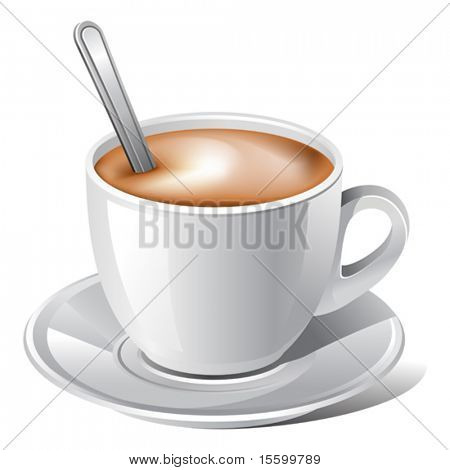 vector white coffee with spoon