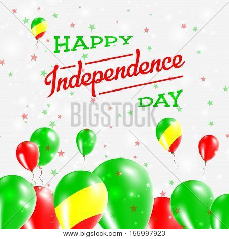 Congo Independence Day Patriotic Design. Balloons In National Colors Of The Country. Happy Independe