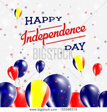 Chad Independence Day Patriotic Design. Balloons In National Colors Of The Country. Happy Independen