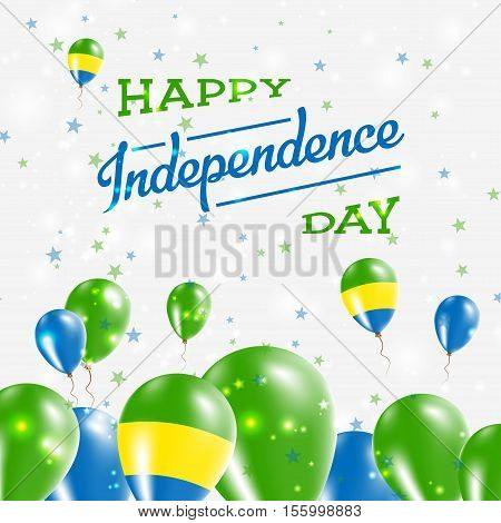 Gabon Independence Day Patriotic Design. Balloons In National Colors Of The Country. Happy Independe
