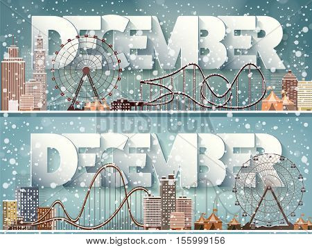 December month, winter cityscape.City silhouettes.Town skyline. Panorama. Midtown houses.New year, christmas.Holidays in January February.