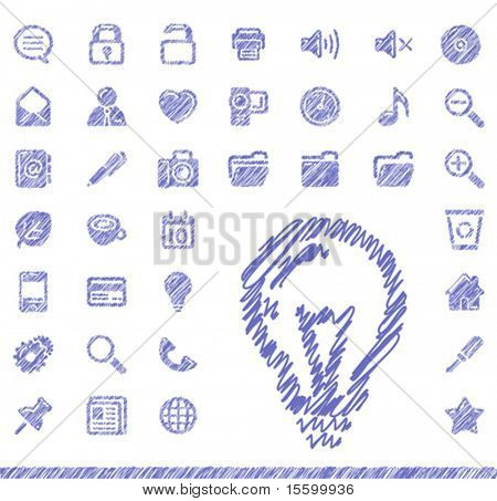 vector set of hand-drawn icons
