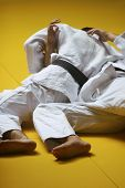 stock photo of judo  - Judo fighters wrestling for supremacy  - JPG