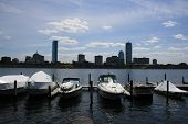 stock photo of prudential center  - Boats docked in Boston - JPG