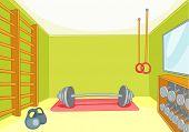 Hand drawn cartoon of gym room. Cartoon background of gym room. Cartoon of fitness center interior.  poster