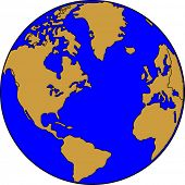 image of world-globe  - Vector map of the world on the globe - JPG