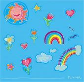 stock photo of corazon  - Kids rainbow summer set.