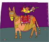 picture of feeling stupid  - circus donkey and bird - JPG