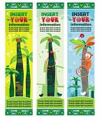 African jungle banners set with palm trees, monkey, snake, birds. With space for your text.