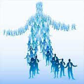 Große Menschenmenge, aus denen eine Person. Team-Konzept.