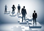 pic of business-office  - Illustration with a team on puzzle pieces - JPG