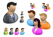 stock photo of people icon  - A collection of People icons including a businessman - JPG