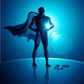 Vector Superhero on top of the world.