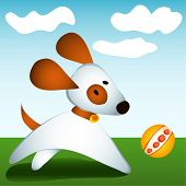 stock photo of puppy dog face  - vector illustration dog plays with ball - JPG