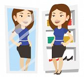 Постер, плакат: Young woman looking at herself in mirror in dressing room Girl trying on skirt in dressing room Wo