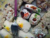 picture of barfi  - some common Indian sweets like kalakand barfi kalajam chamcham etc decorated with dryfruits cocconut filing and edible silver foil called tabaq or waraq - JPG