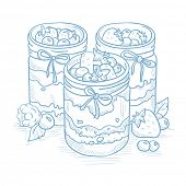 Jam in glass jars and fresh berries. Jam jar and berries hand drawn on white background. Jam jar and poster
