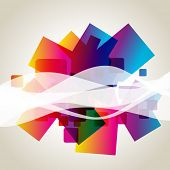 colorful abstract vector wave design background poster