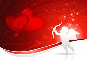 stock photo of cupid  - vector cupid heart background design - JPG