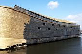 stock photo of noah  - Johan Huibers from the Netherlands start building the ark of Noah in exact sizes.