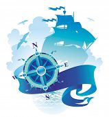 image of compass rose  - Adventures illustration - JPG