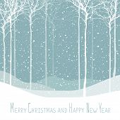 Merry Christmas postcard. Calm winter scene. Vector background with white tree silhouettes under sno poster