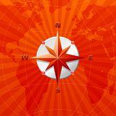 Постер, плакат: Красная Роза компас на фоне карты мира