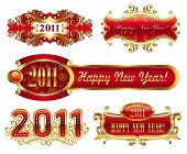 Happy new year 2011 - golden vector ornate frames
