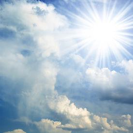 stock photo of sun rays  - sun on blue sky - JPG
