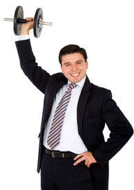 picture of lifting weight  - business man lifting weights easily with a big smile over a white background - JPG