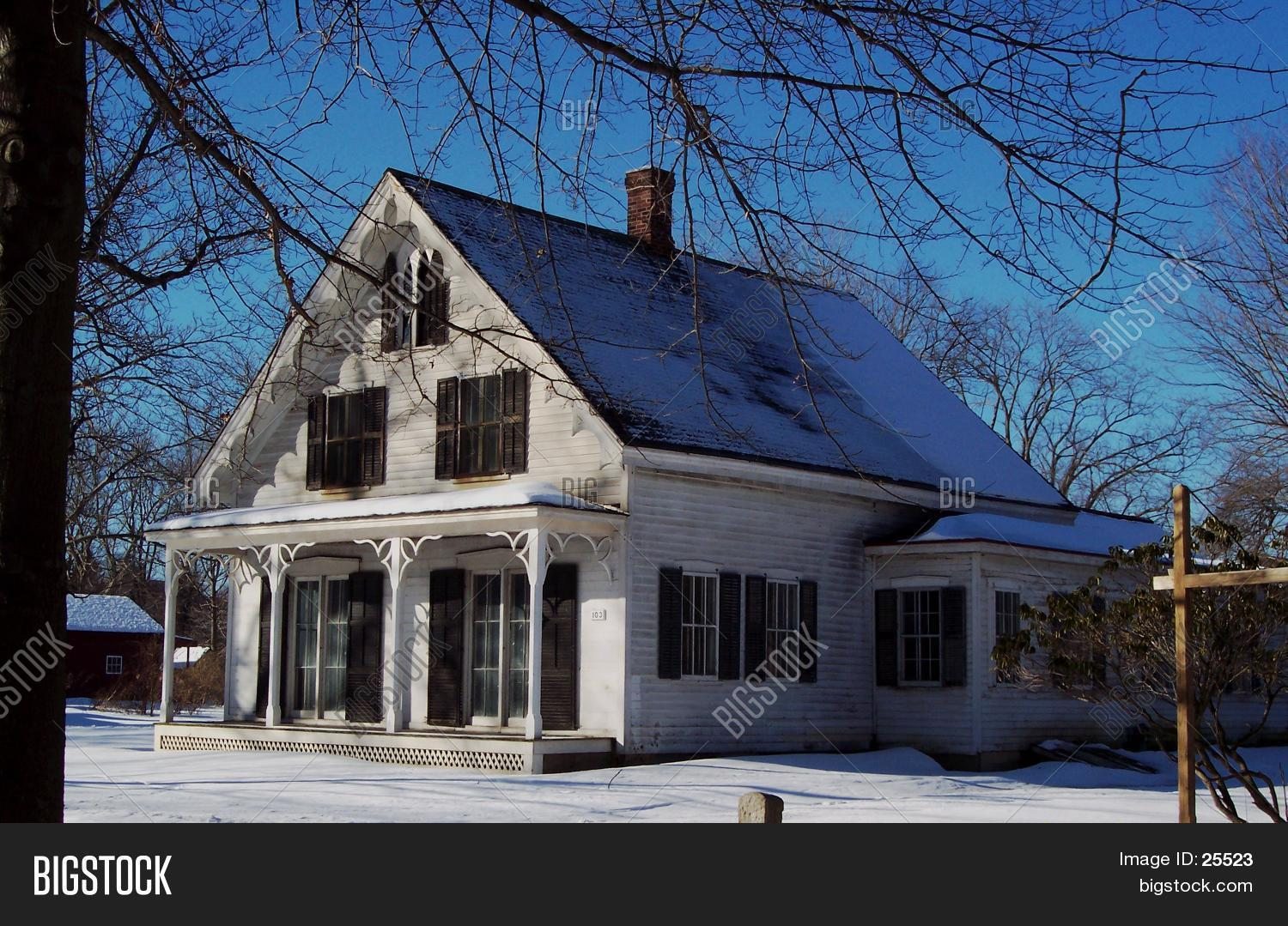 Victorian House In Snow Stock Photo Stock Images Bigstock