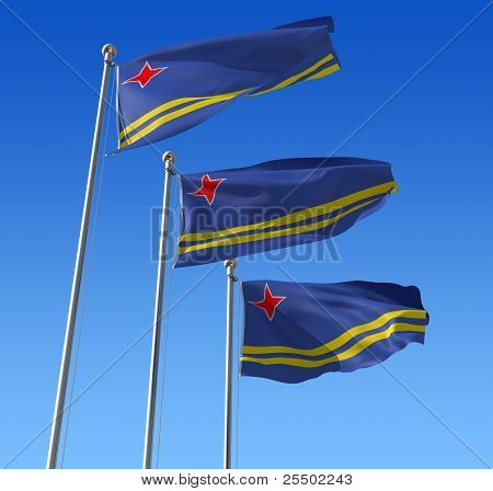 Three flags of Aruba against blue sky.