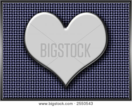 Metal Heart On Chain Link Background