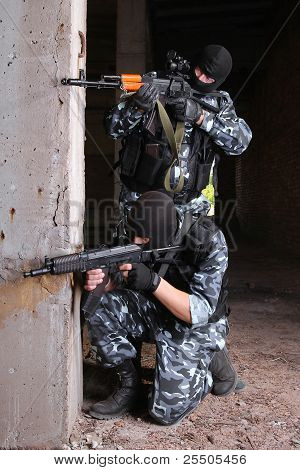 Terrorists In Black Masks With Guns