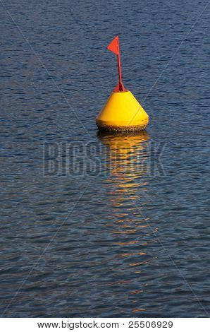 Yellow Buoy And Red Flag