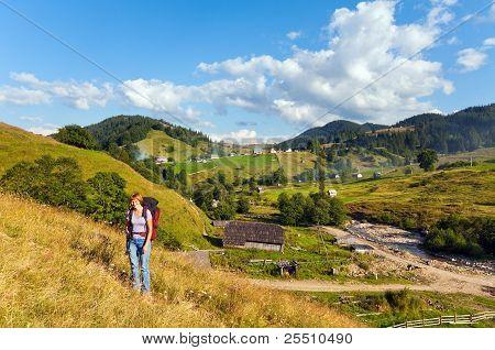 Summer Mountain Village Landscape