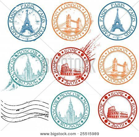 Ciudad estampillas de colección con símbolos: Paris (Torre Eiffel), Londres (London Bridge), Roma (Coliseo),