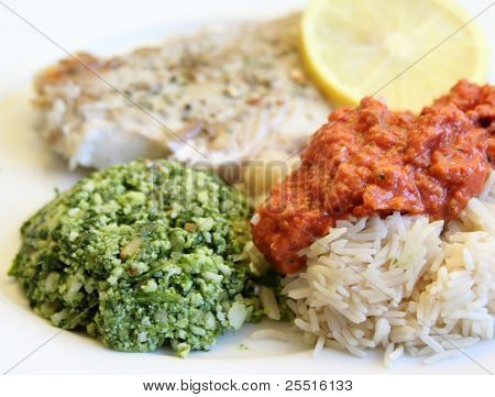 healthy lunch with fish and two kinds of pesto