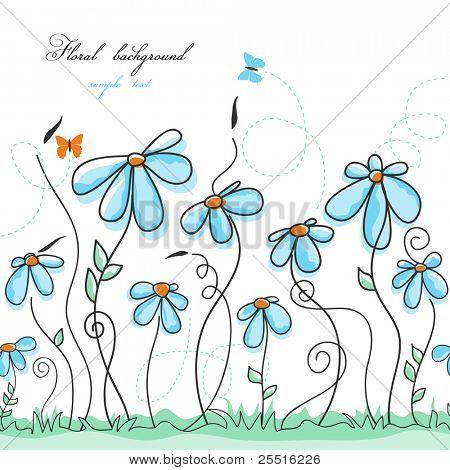 Blue floral garden