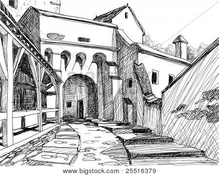 Medieval citadel sketch; this is the main entrance in the Schasburg citadel where Vlad Dracul (the father of legendary Dracula) lived for a while