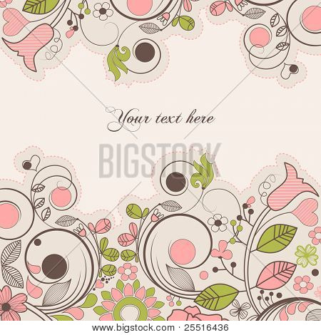 Beautiful summer floral frame with space for text