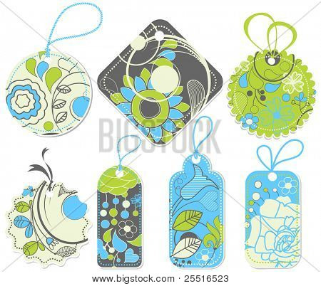 Price tags collection, floral pattern
