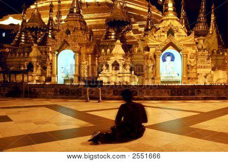 Praying Woman In Shwedagon Temple, Myanmar