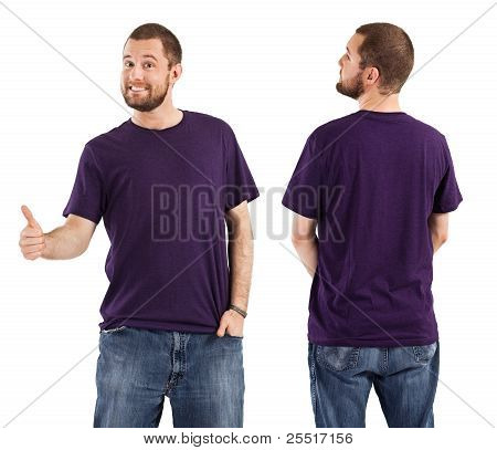 Male Posing With Blank Purple Shirt