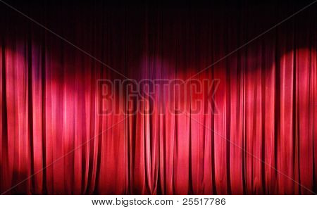 Red Curtains background. Theater curtains background