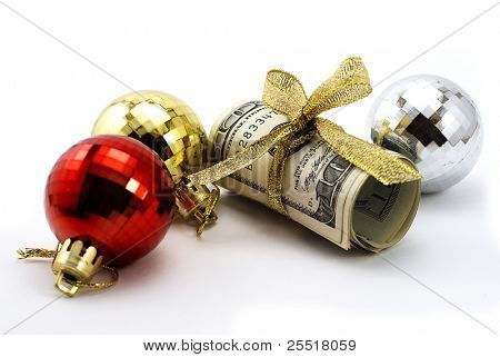 Dollars with golden ribbon