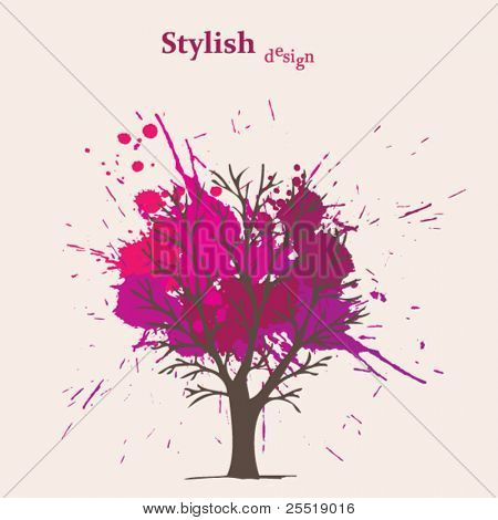 Splash pink vector tree