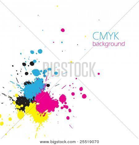 Vektor-CMYK-Tinten-Spritzer